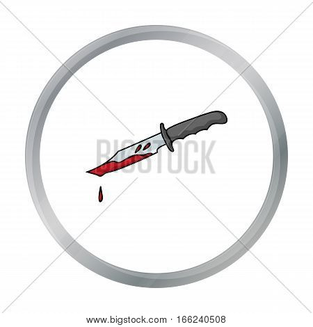 Bloody knife icon in cartoon style isolated on white background. Crime symbol vector illustration. - stock vector