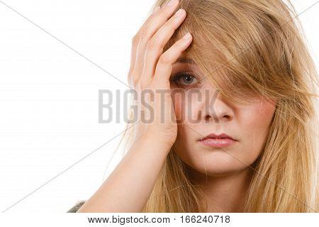 Woman Having Headache Putting Hand On Head