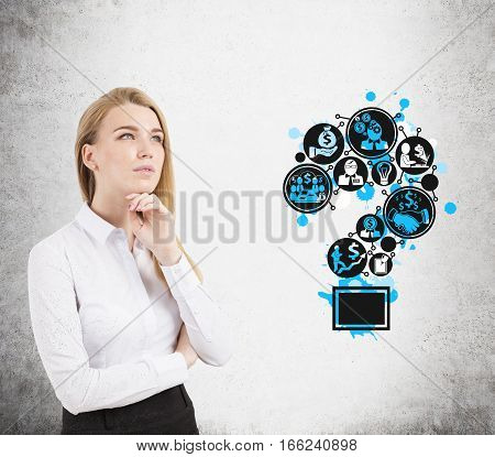 Pensive Blond Woman And Question Mark Icons