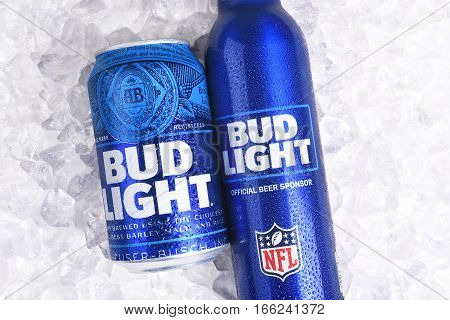 IRVINE CALIFORNIA - JANUARY 22 2017: Bud Light Aluminum Bottle and Can on ice. The resealable bottle feature the NFL and Super Bowl LI logos.