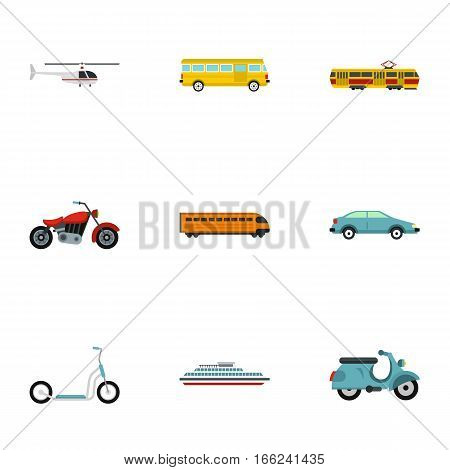 Vehicles icons set. Flat illustration of 9 vehicles vector icons for web