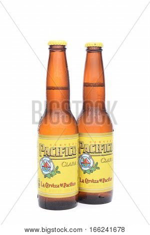 IRVINE CALIFORNIA - JANUARY 22 2017: 2 Bottles of Cerveza Pacifico Clara better known as Pacifico is a Mexican pilsner-style beer brewed in in the Pacific Ocean port city of Mazatlan.