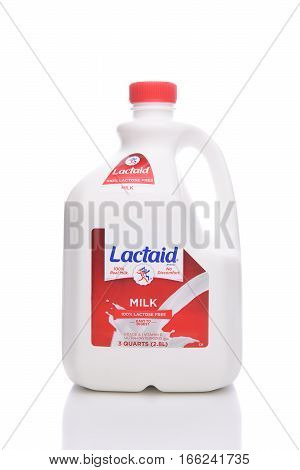 IRVINE CALIFORNIA - JANUARY 22 2017: A 3 Quart Bottle of Lactaid Lactose Free Milk. Lactaid makes a full line of lactose free dairy products that can be enjoyed without stomach discomfort.
