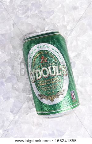 IRVINE CALIFORNIA - JANUARY 22 2017: ODouls can on Ice. The Non-Alcoholic beer is produced by Anheuser-Busch.