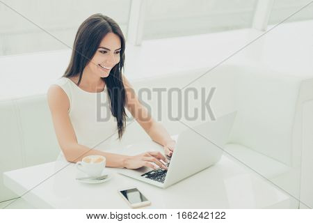 Portrait Of Young Beautiful Woman Working With Laptop In Modern Office