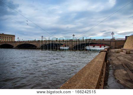 Historic Court Avenue bridge crossing the Des Moines river in Downtown Des Moines Iowa