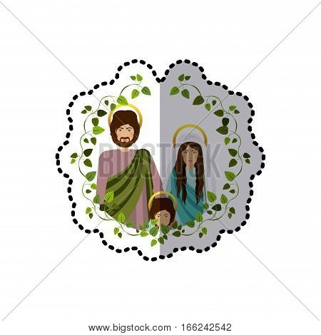 sticker ornament of green leaves with picture of sacred family vector illustration