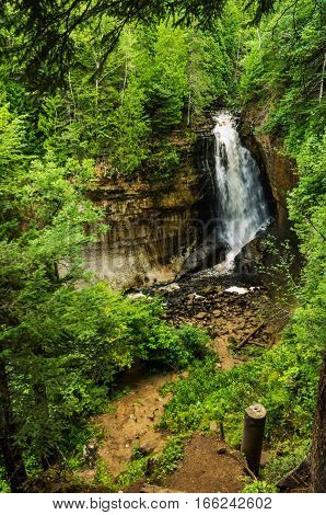 Miners Falls in Upper Michigan surrounded by a forest