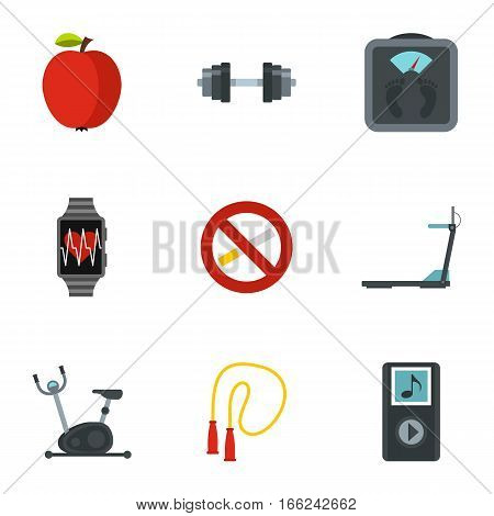 Fitness, diet and healthy living icons set. Flat illustration of 9 fitness, diet and healthy living vector icons for web