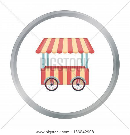 Snack cart icon in cartoon style isolated on white background. Circus symbol vector illustration. - stock vector