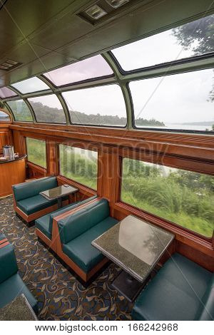 June 28, 2016 Colon, Panama: the interior of Panama Railway train a popular commuting between the capital city and Colon for port workers as well as tourists