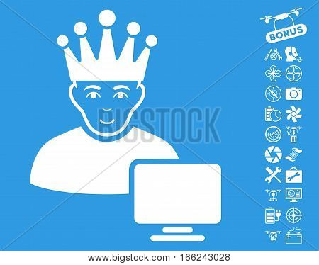 Computer Moderator pictograph with bonus drone service graphic icons. Vector illustration style is flat iconic white symbols on blue background.
