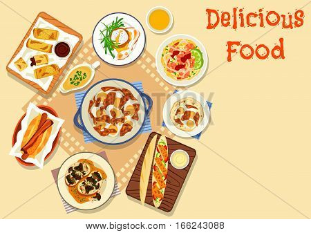 Tasty snacks for lunch icon of hot dog with sausage and bacon, mushroom sandwich, egg curry, shrimp noodles, baguette with fried chicken, meatball topped with poached egg, potato rolls with bean sauce