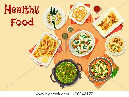 Healthy vegetarian dinner icon of baked onion with cheese on pita bread, potato onion casserole, fried onion rings, chickpea curry, cabbage stew, stuffed onion, poached egg with leek on toast