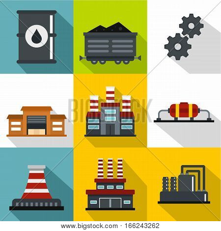 Oil production icons set. Flat illustration of 9 oil production vector icons for web