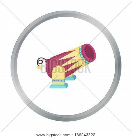 Circus cannon icon in cartoon style isolated on white background. Circus symbol vector illustration. - stock vector