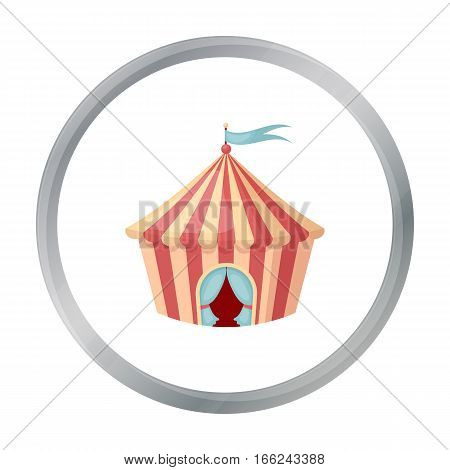 Circus tent icon in cartoon style isolated on white background. Circus symbol vector illustration. - stock vector