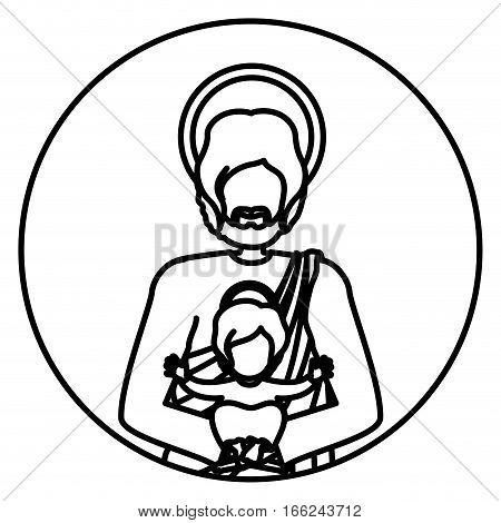 circular shape with contour half body saint joseph with baby jesus vector illustration