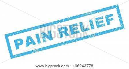 Pain Relief text rubber seal stamp watermark. Caption inside rectangular shape with grunge design and scratched texture. Inclined vector blue ink sign on a white background.