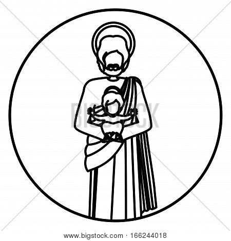 circular shape with contour of saint joseph with baby jesus vector illustration