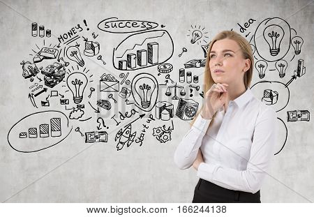 Blond Woman And Successful Idea