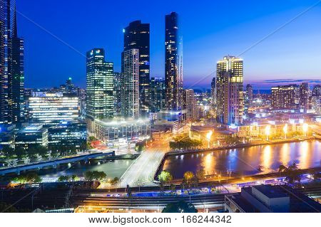Melbourne, Australia - Nov 28, 2016: View of Southbank and fire display of Crown Casino at night