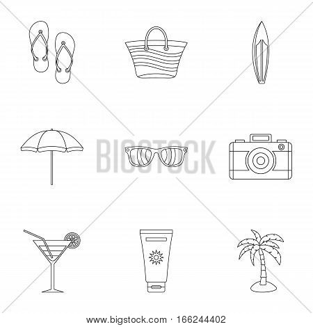 Relax on beach icons set. Outline illustration of 9 relax on beach vector icons for web