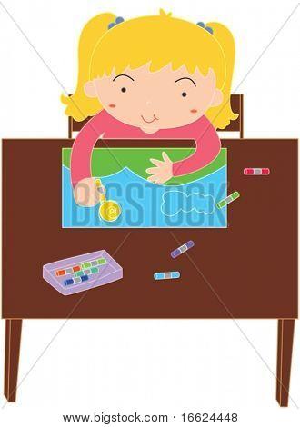 Illustration of girl making painting