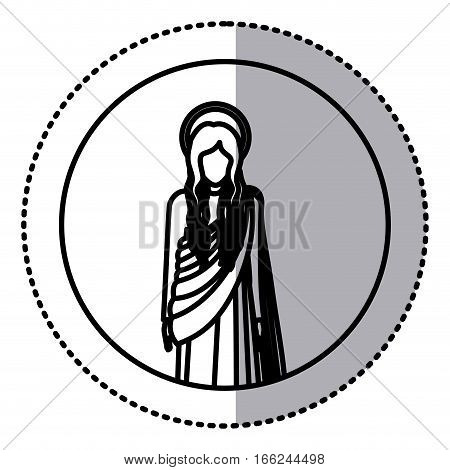 circular sticker with silhoutte figure human of saint virgin maria vector illustration