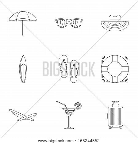 Coast icons set. Outline illustration of 9 coast vector icons for web