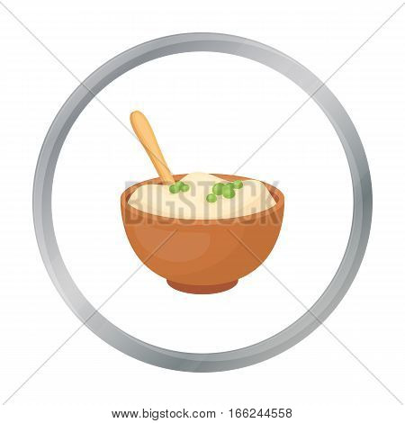 Mashed potatoes icon in cartoon style isolated on white background. Canadian Thanksgiving Day symbol vector illustration. - stock vector