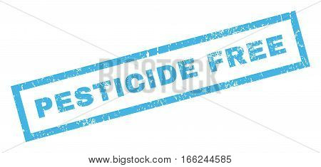 Pesticide Free text rubber seal stamp watermark. Tag inside rectangular shape with grunge design and dirty texture. Inclined vector blue ink sign on a white background.