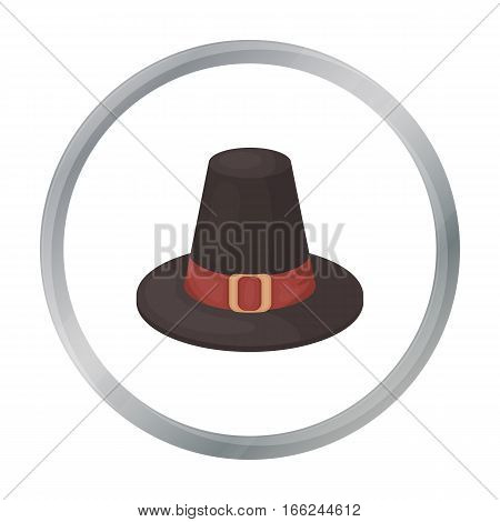 Pilgrim hat icon in cartoon style isolated on white background. Canadian Thanksgiving Day symbol vector illustration. - stock vector