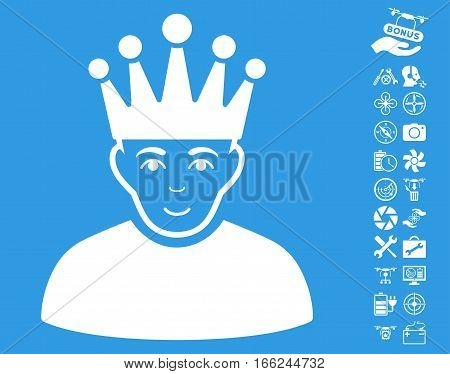 Moderator pictograph with bonus quad copter tools pictograms. Vector illustration style is flat iconic white symbols on blue background.