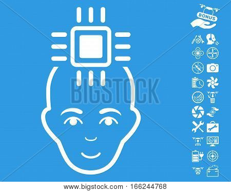 Neural Computer Interface pictograph with bonus nanocopter tools pictograms. Vector illustration style is flat iconic white symbols on blue background.