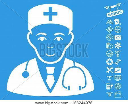 Physician pictograph with bonus quadrocopter service design elements. Vector illustration style is flat iconic white symbols on blue background.
