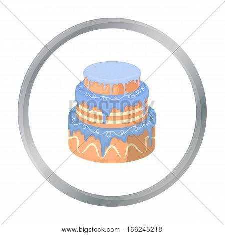 Blue three-ply cake icon in cartoon design isolated on white background. Cakes symbol stock vector illustration. - stock vector