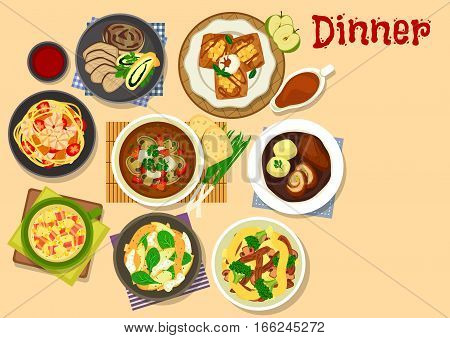 Healthy dinner icon of vegetable soup with bacon, beef roll with ham, noodles with meat, vegetable and fish, baked pork with mushroom strudel, tofu mushroom soup, pancake with apple and caramel