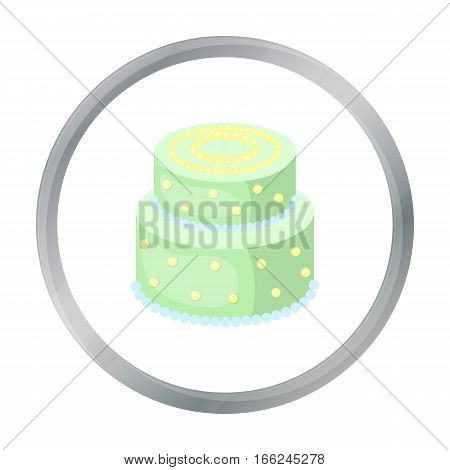 Green cake with yellow dots icon in cartoon design isolated on white background. Cakes symbol stock vector illustration. - stock vector