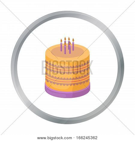 Bicolor cake icon in cartoon design isolated on white background. Cakes symbol stock vector illustration. - stock vector