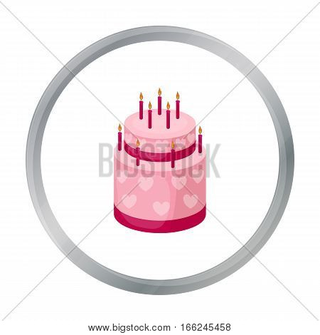 Cake with hearts icon in cartoon design isolated on white background. Cakes symbol stock vector illustration. - stock vector