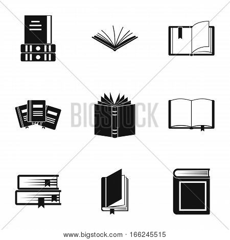 Textbooks icons set. Simple illustration of 9 textbooks vector icons for web