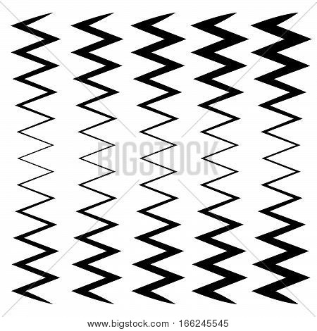Wavy, Zig-zag Lines - Thinner And Thicker Versions. Irregular Lines, Stripes.