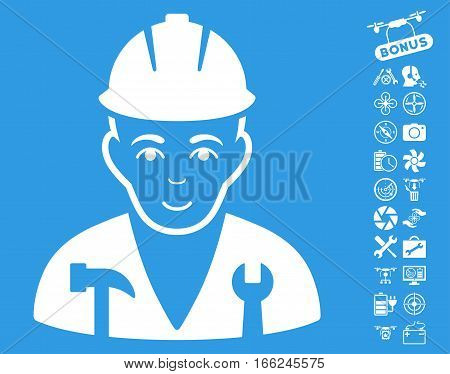 Serviceman pictograph with bonus aircopter service pictograph collection. Vector illustration style is flat iconic white symbols on blue background.