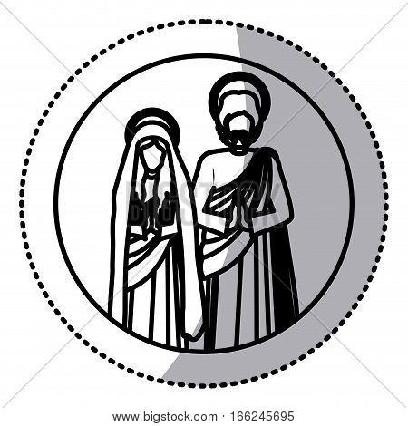circular sticker with silhouette virgin mary and saint joseph praying vector illustration