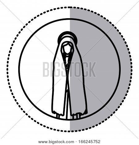circular sticker with silhouette of saint virgin mary vector illustration