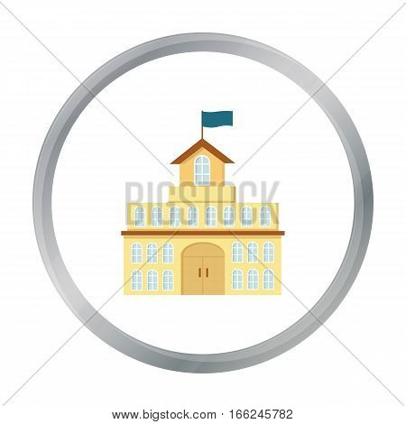 Government icon cartoon. Single building icon from the big city infrastructure cartoon. - stock vector