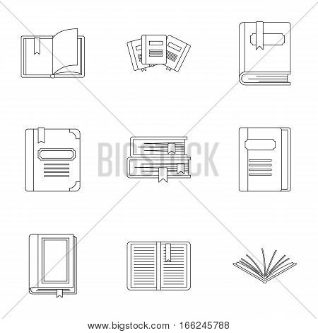 Textbooks icons set. Outline illustration of 9 textbooks vector icons for web