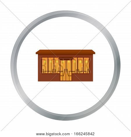 Cafe icon cartoon. Single building icon from the big city infrastructure cartoon. - stock vector