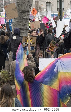 PHILADELPHIA, PA - JAN 21 2017: Women's March on Philadelphia. A sister march of Women's March on Washington. Women and men gathering in peaceful protest on Benjamin Franklin Parkway.